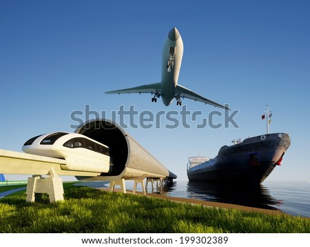 Train, airplane and tanker on the shore. - stock photo
