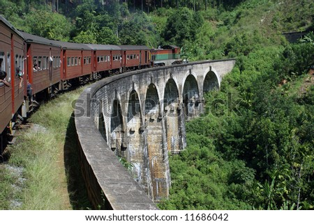 Train and bridge, Sri Lanka - stock photo