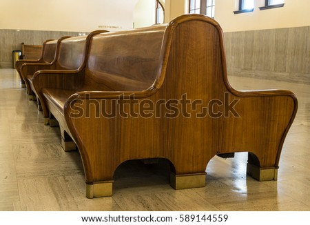 Train and Bus Station Wooden Benches in Art Deco Style