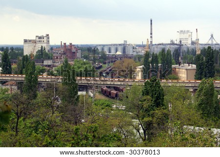 Train and industry in Odessa, Ukraine - stock photo