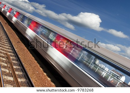 Train and motion blur - stock photo