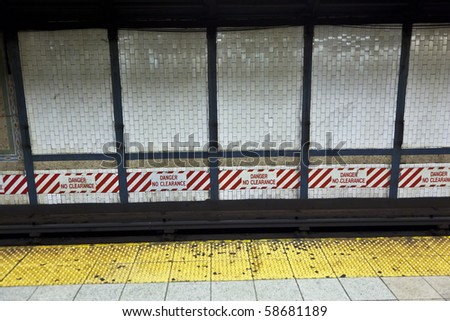 train arrives in the underground station in New York - stock photo