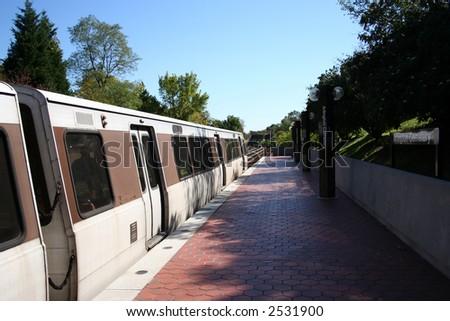 Train at Arlington Cemetery metro Station Washington DC - stock photo