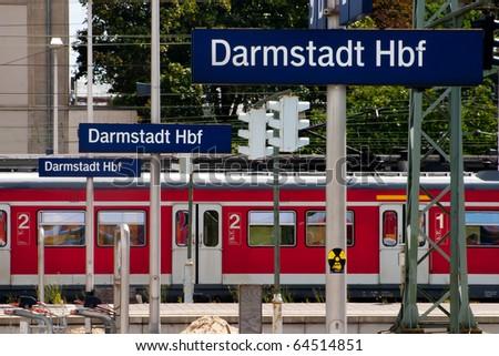 Train at German station, Darmstadt - stock photo