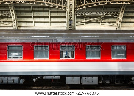 Train at the railway station - stock photo