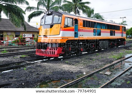 Train at Thonburi station in Bangkok, Thailand. - stock photo