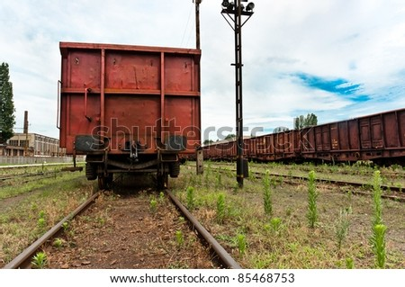 Train at trainstation angle shot - stock photo