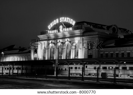 train at union station at night in denver colorado - stock photo