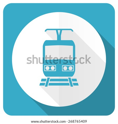 train blue flat icon public transport sign  - stock photo