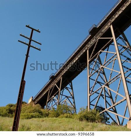Train bridge perspective - stock photo