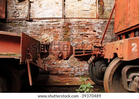 Train Car Linkage in old station - stock photo