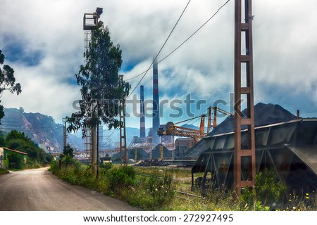train carriages out coal in a mine - stock photo