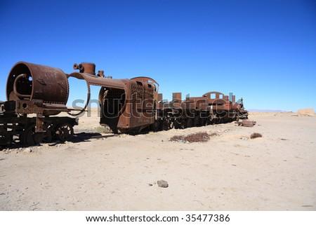 Train cemetery in Uyuni - stock photo