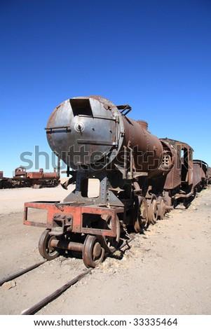 Train cemetery in Uyuni , Bolivia - stock photo