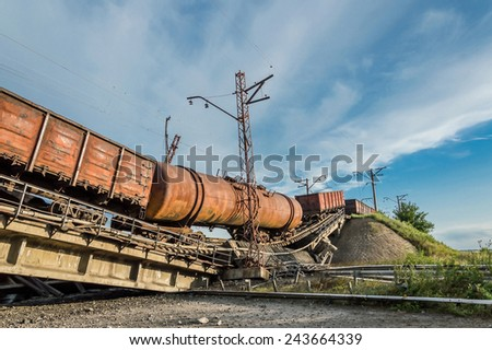 Train crash because of the destroyed bridge - stock photo