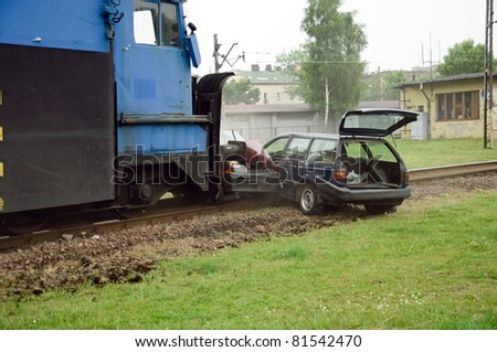 Train crashes in car, firefight excercises - stock photo