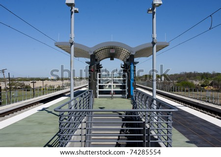 Train depot on raised platform - stock photo