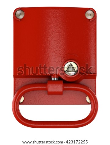 Train Emergency Brake on White Background. 3D illustration