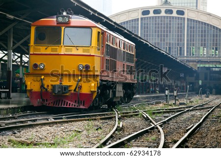 Train engine at the station - stock photo