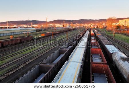 Train Freight transportation platform - Cargo transit - stock photo