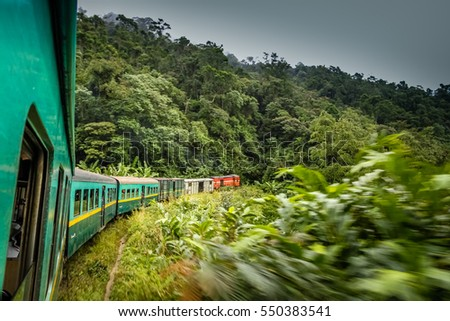 Train going through beautiful lush rainforest between the high plateau city of Fianarantsoa and the port-city of Manakara