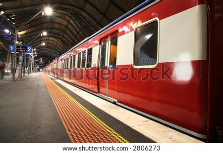 Train in a station - stock photo