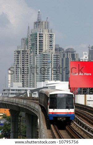 Train in Bangkok, Thailand, place your add on billboard (with clipping paths) - stock photo