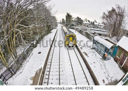 Train in Snow in Cottingham East Yorkshire February - stock photo