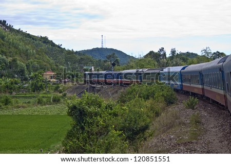 Train in southern Vietnam - stock photo