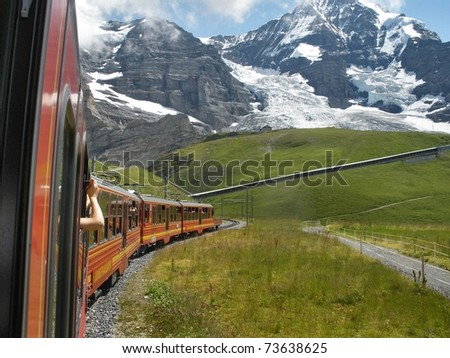 Train in the Alps, - stock photo