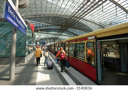 Train in the Berlin's main train station - stock photo