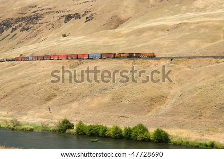 Train in the eastern Oregon Desert - stock photo