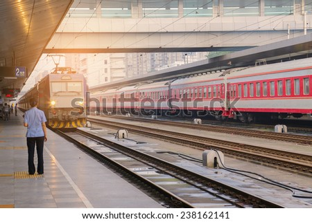 train in train station - stock photo