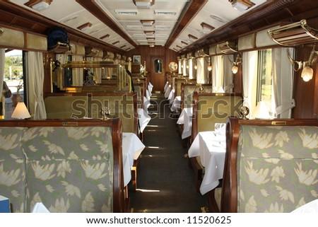 Train Interior, Hiram Bingham Orient Express, Cusco to Machu Picchu, Peru - stock photo