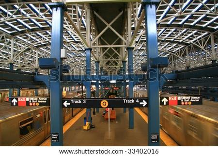 Train leaving new subway station at Coney Island - Brooklyn, NY - stock photo