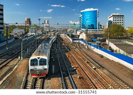 Train leaving the Paveletsky station in Moscow - stock photo