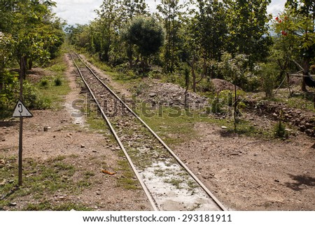 Train Line at the outskirts of Kalay in the Mountains of Chin State, Myanmar (Burma) - stock photo
