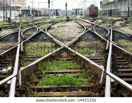 Train line crossing - stock photo