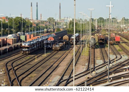 Train line crossing. Industrial landscape in Hamburg, Germany. - stock photo
