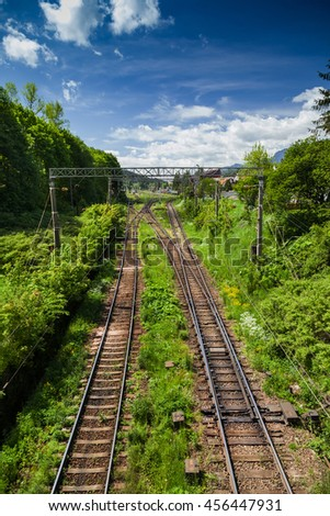 Train lines viewed from above - stock photo