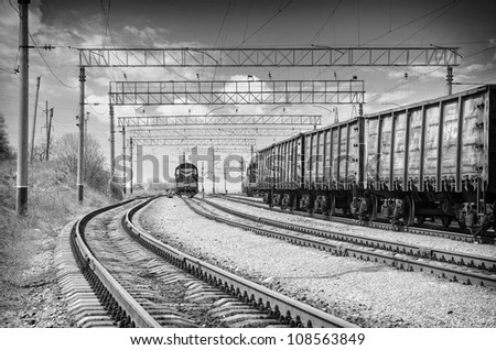 Train on railroad - stock photo