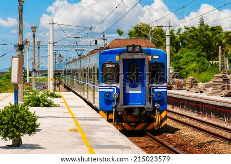 train on the railway in Hualian, Taiwan - stock photo