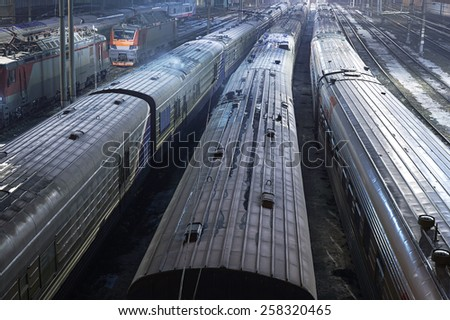 Train parking at night from the top - stock photo