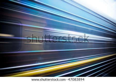 train passing by. Motion blur - stock photo