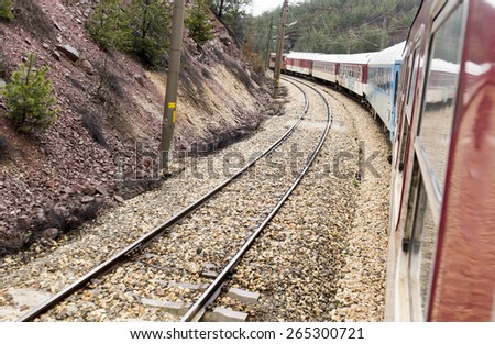 Train Point of View from the window of a fast moving train. - stock photo