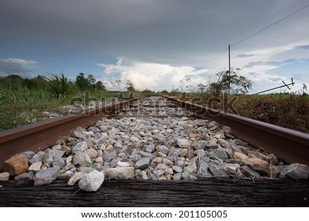 train rail in urban Thailand - stock photo