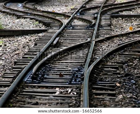 train railroad junction - stock photo