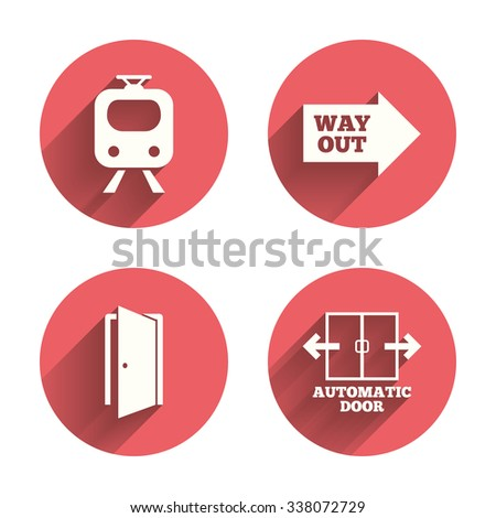 Train railway icon. Automatic door symbol. Way out arrow sign. Pink circles flat buttons with shadow.  - stock photo