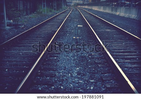 train railways with vintage filter effect - stock photo