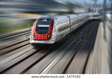 Train series - Motion blur of a fast moving train. - stock photo
